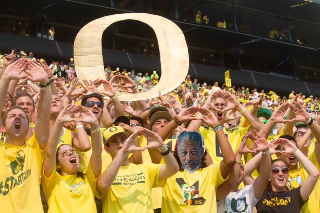 Morgan Freeman in the crowd at Autzen Stadium