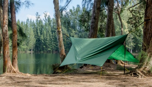 This portable lightweight tarp looks perfect for those wet camping trips