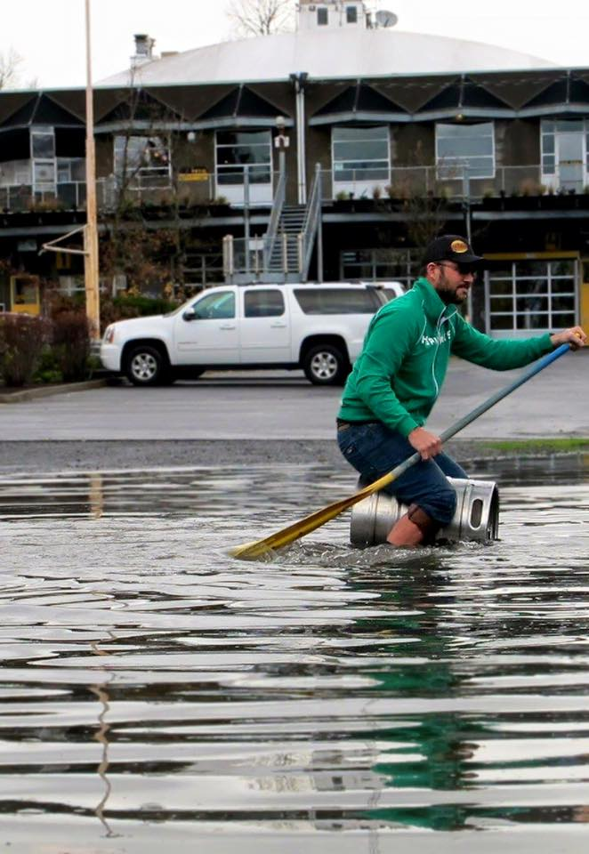Folks at HopsWork Brewery making the best of all the flooding. (Photo Credit: KATU Channel 2)