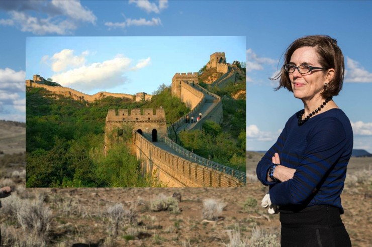 Oregon Gov. Kate Brown, somewhere in the Eastern Oregon desert, happily envisioning a wall surrounding the state.