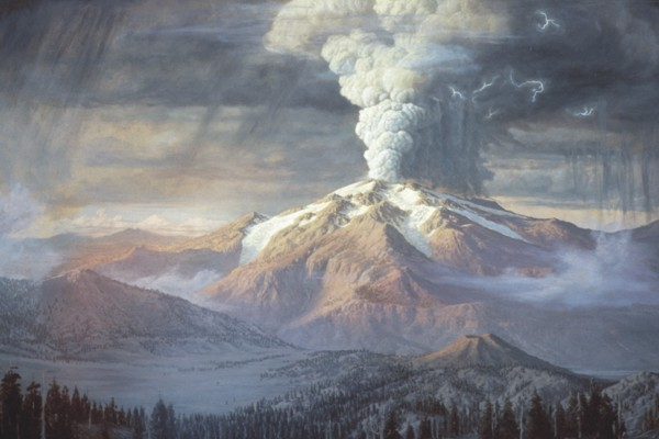 Painting of eruption of Mount Mazama (image courtesy of National Park Service, Crater Lake)