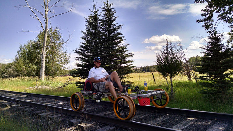 oseph Branch Railriders co-owner Kim Metlen demonstrates pedaling a Railrider. JBRAILRIDERS.COM