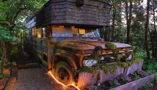 Stay overnight in this enchanting cabin-like vintage bus in Oregon