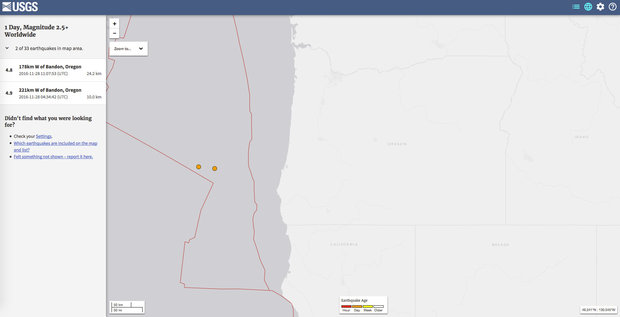 The U.S. Geological Survey said Nov. 28, 2016 a pair of earthquakes struck late Sunday and early Monday. The first quake was a magnitude 4.9 and was recorded at 7:30 p.m. Pacific about 145 miles west of Coos Bay. (USGS website screen grab)