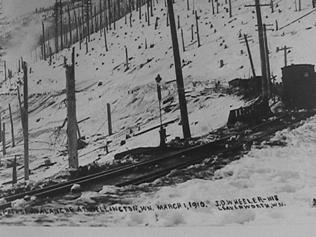 Stevens Pass at Wellington shortly after the avalanche of 1910