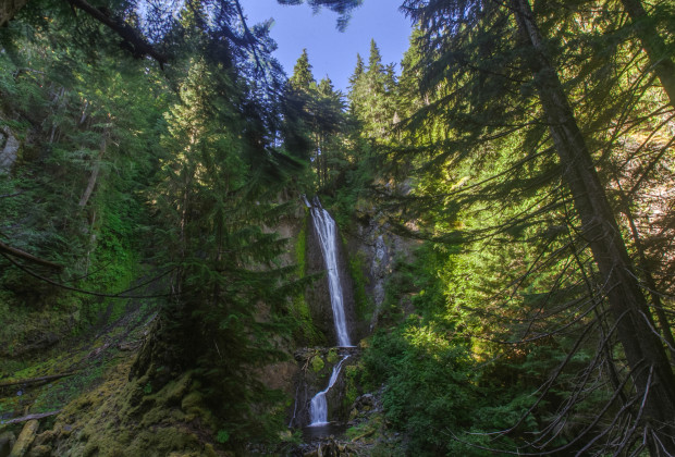 "The stream that forms the Valhalla canyon merges with another nearby stream to create a glade with two waterfalls that have been nicknamed ""Shangri-La."" Uncage The Soul/OPB"