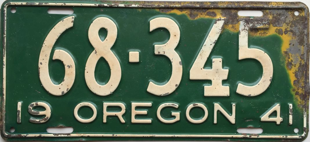 1941 Oregon License Plate