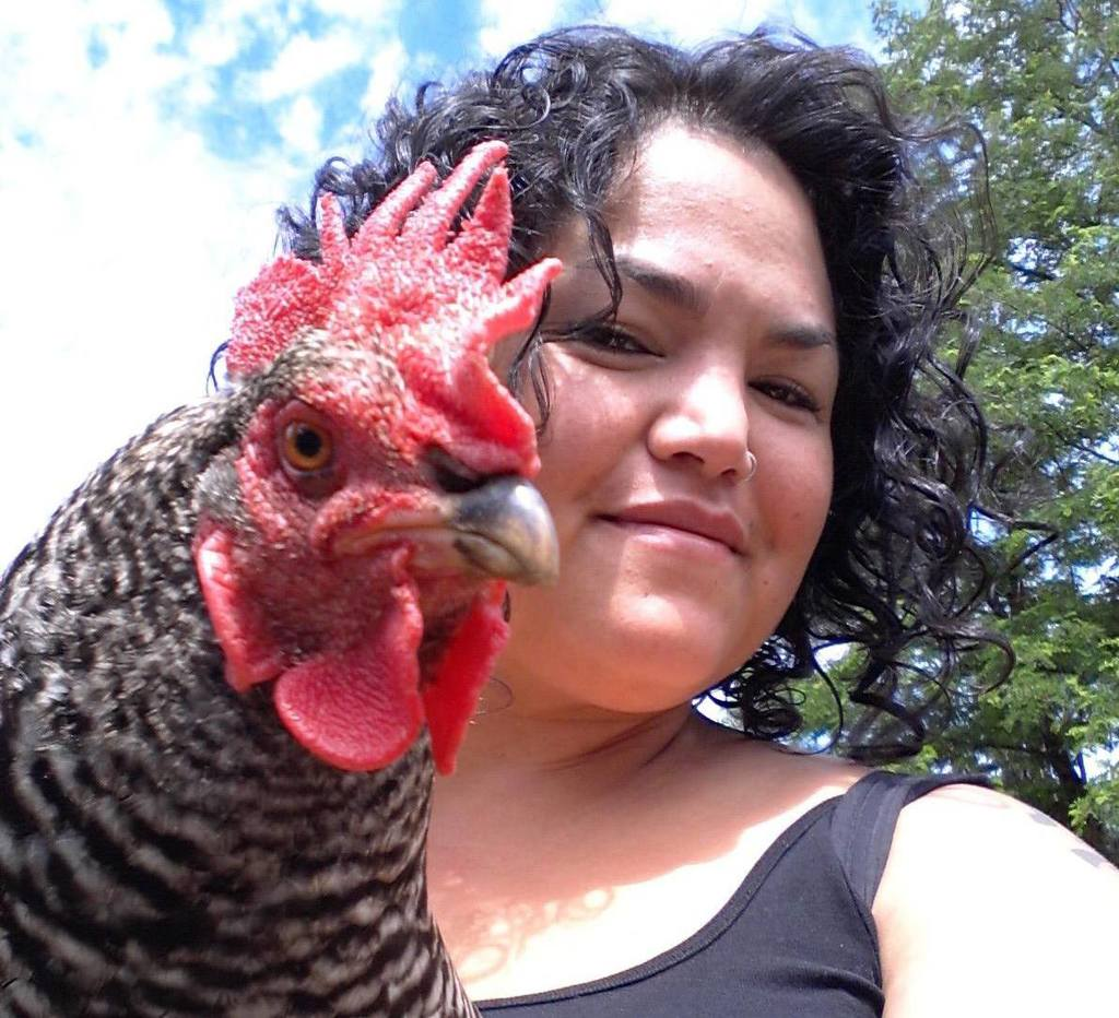 Oregon Lady with Rooster