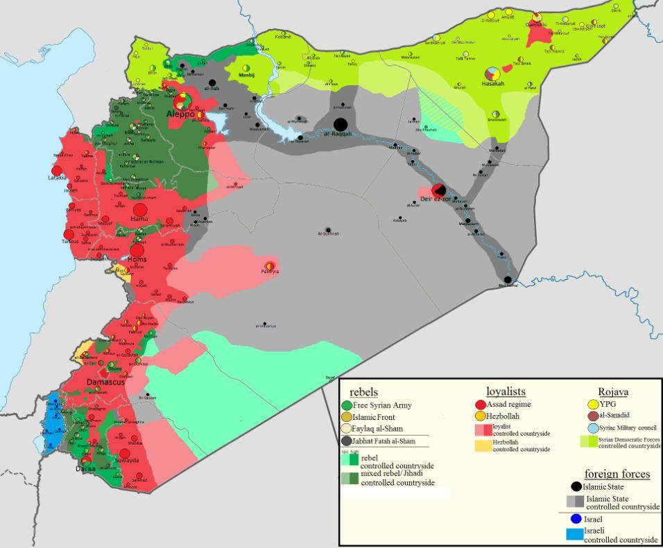 Map of Syria - Air Strike on Syria