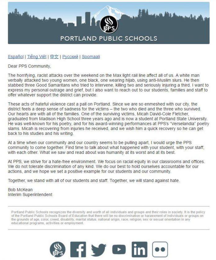 Portland Public Schools Condemn Stabbing on Max