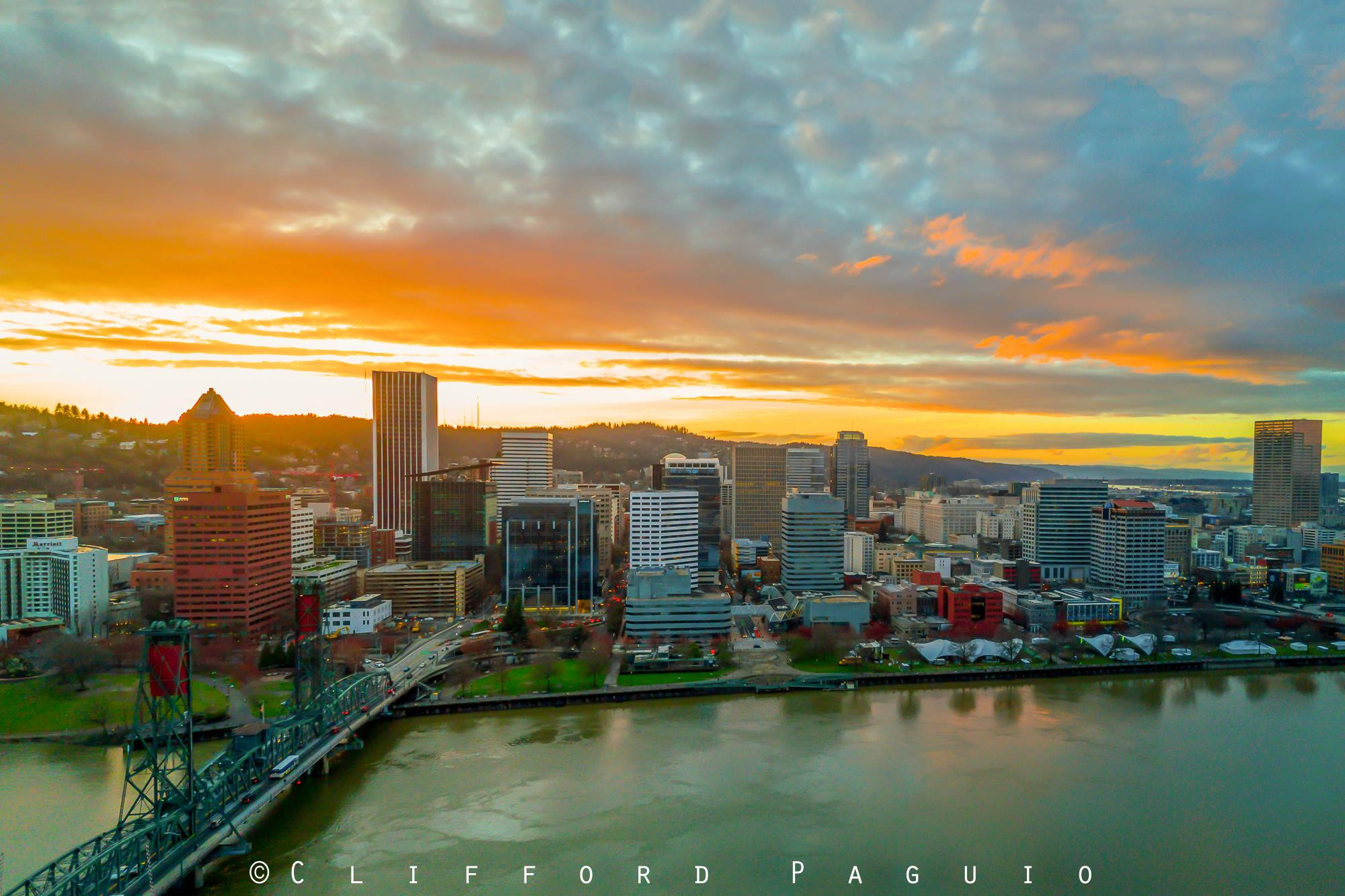 Aerial View Of Portland Oregon Sunset Image Courtesy Of Clifford Paguio P Ography