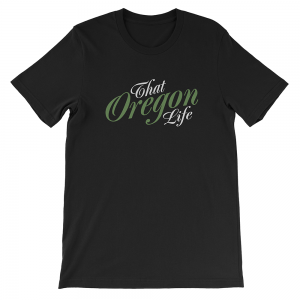 Green-White-That-Oregon-Life-Script-Logo-Logo-Mens-Tee-Shirt-Black-1