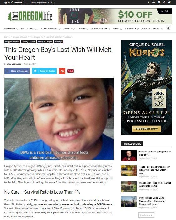 Oregon Active Fights Childhood Cancer Neymar
