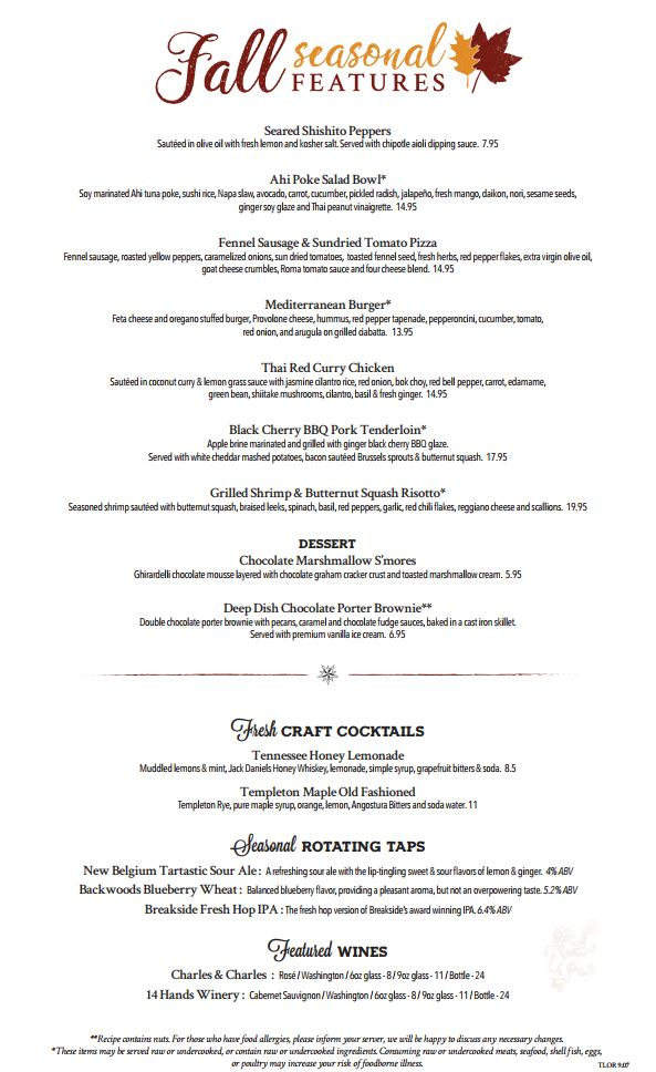 Best Happy Hour Menu - Thirst Lion Seasonal Menu