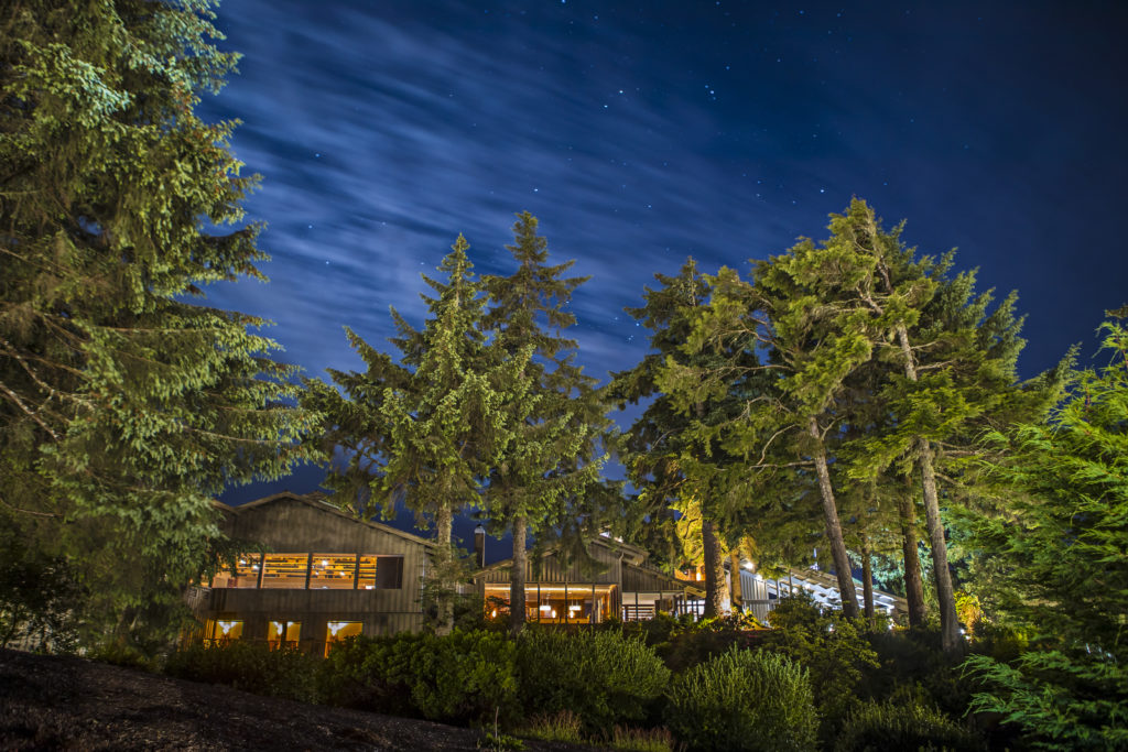 The exterior of Salishan Coastal Lodge at night under the stars with towering trees