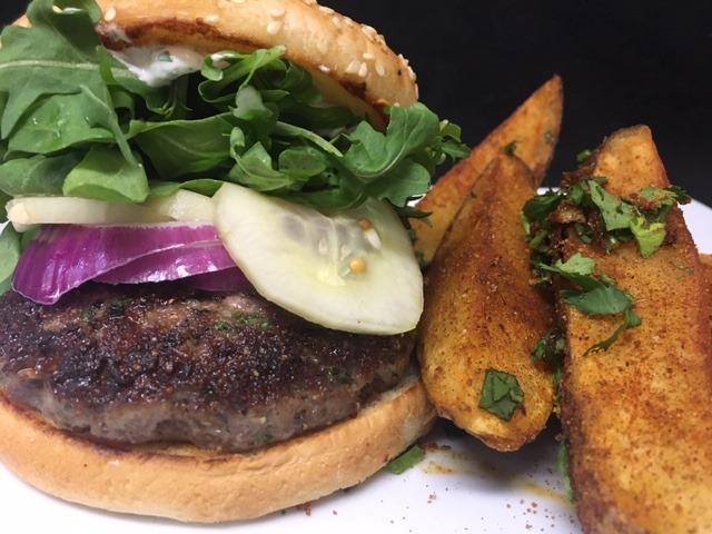 a delicious looking lamb burger