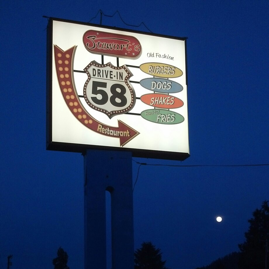 The Stewart's 58 Drive In Sign lit up at night