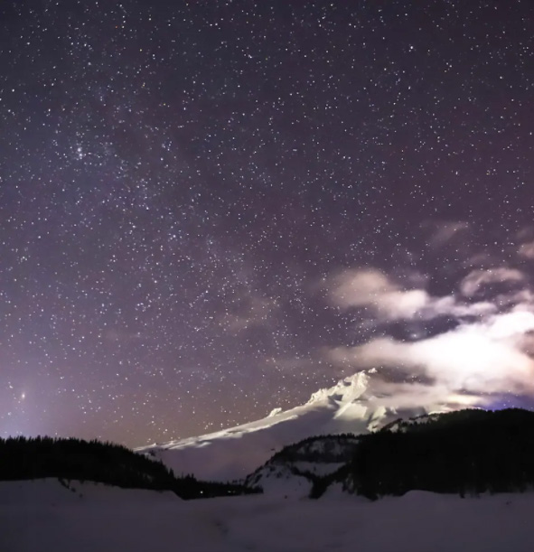 Mount Hood At Night In The Snow