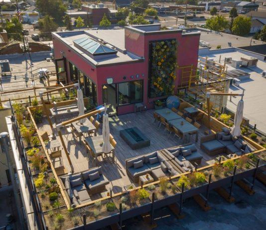 Exterior aerial shot of SCP Redmond Hotel