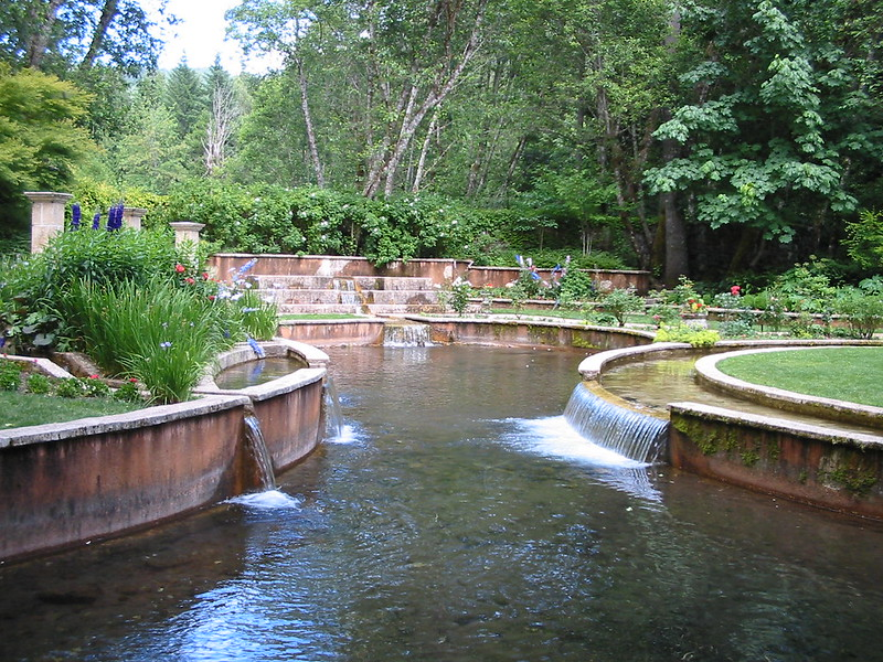 Water and Waterfalls at Belknap Hot Springs Garden