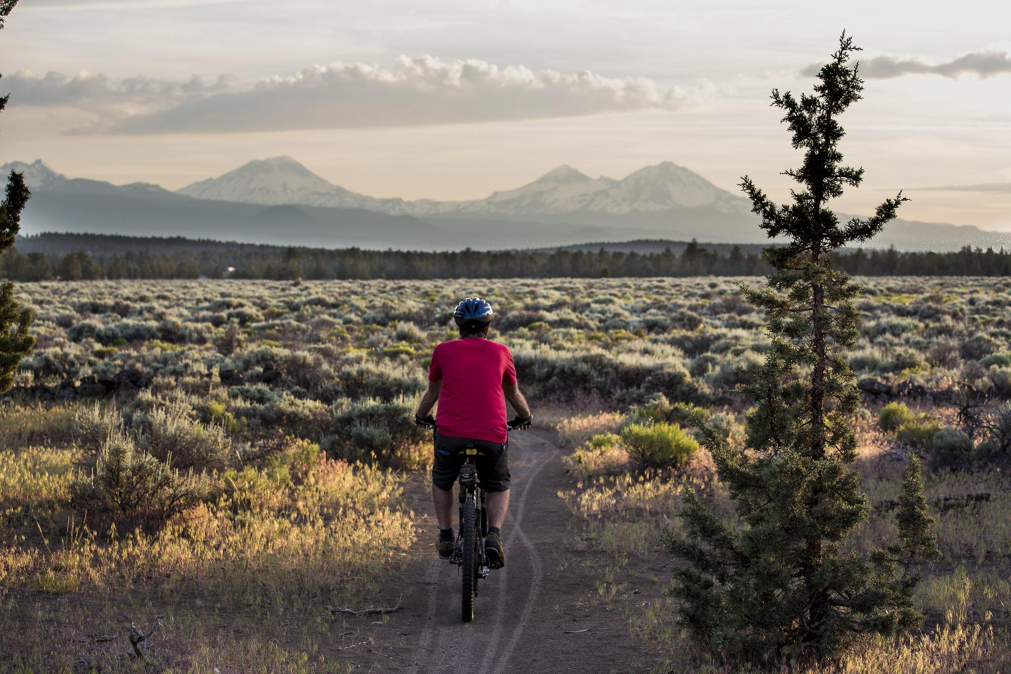 A person mountain biking by Cline Butte