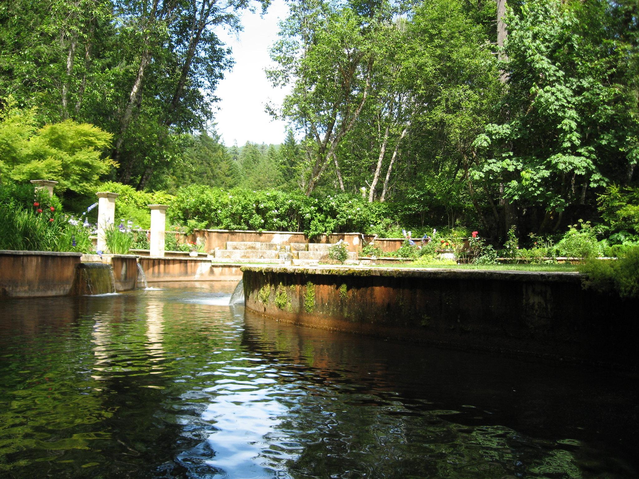 Water running through the Hidden Garden at Belknap Hot Springs