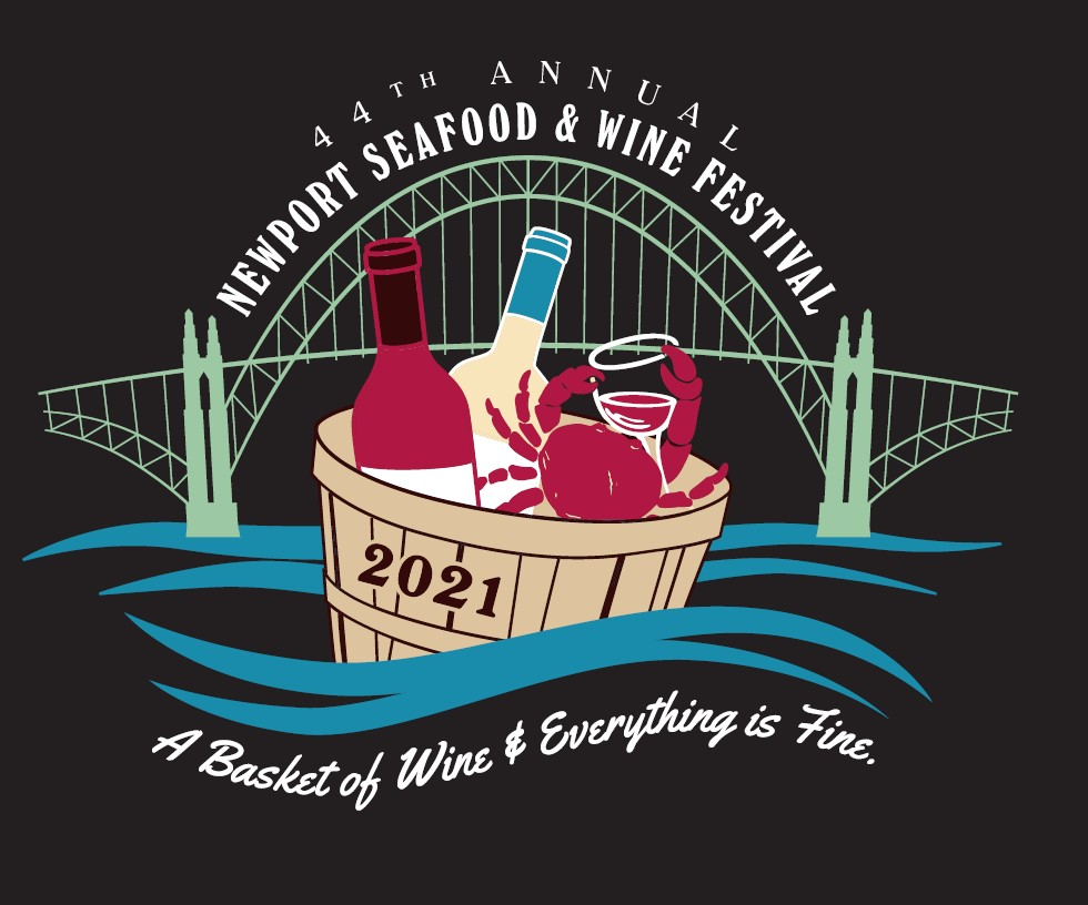 The 2021 Newport Seafood And Wine Festival Logo, A bridge over a basket of seafood and wine.