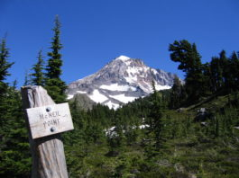 A snowcapped mountain seen from the McNeil Point Trail.