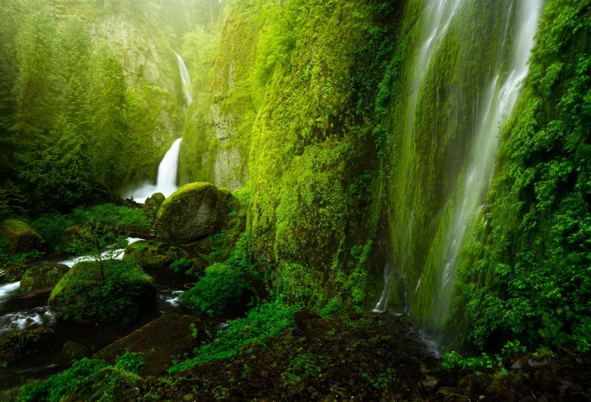 A waterfall in a lush green landscape.