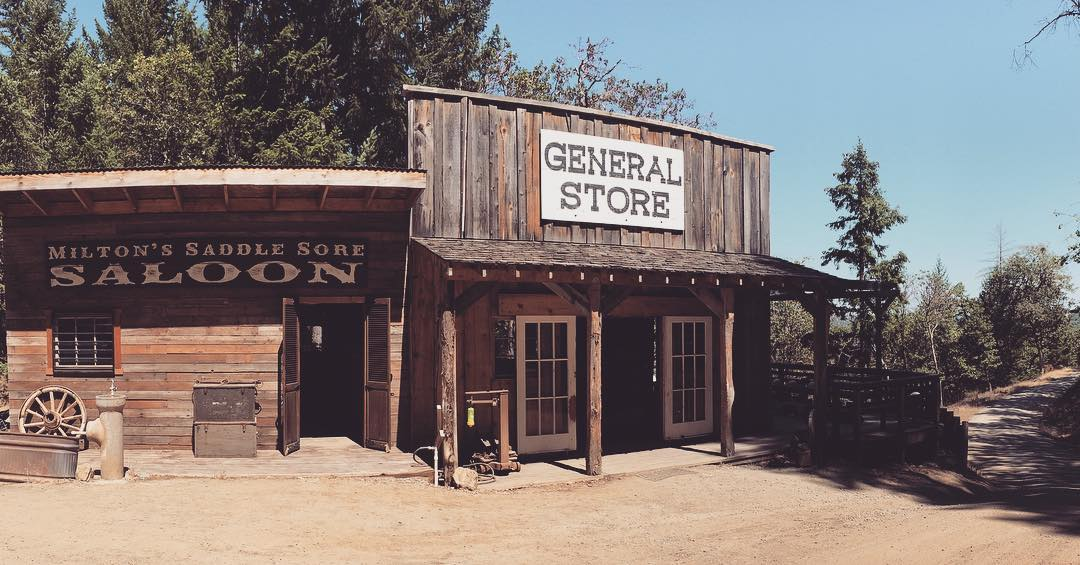 The old west general store at Rogue Valley Zipline Tour in Southern Oregon