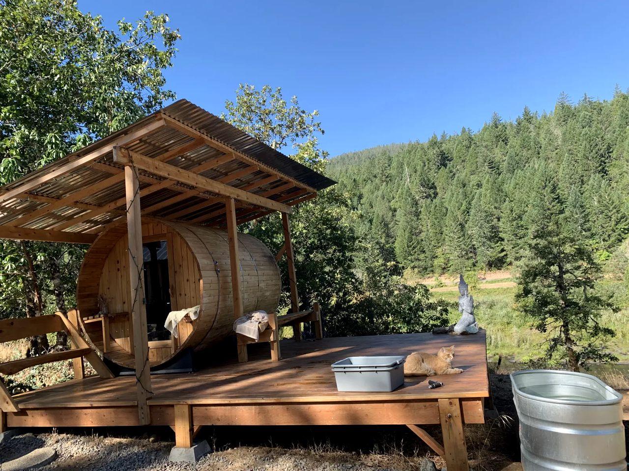 A sauna outdoors