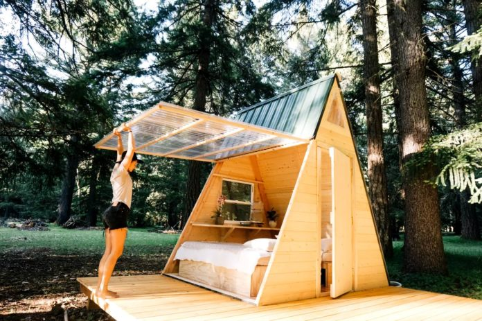 A pretty and tiny A frame cabin in the woods