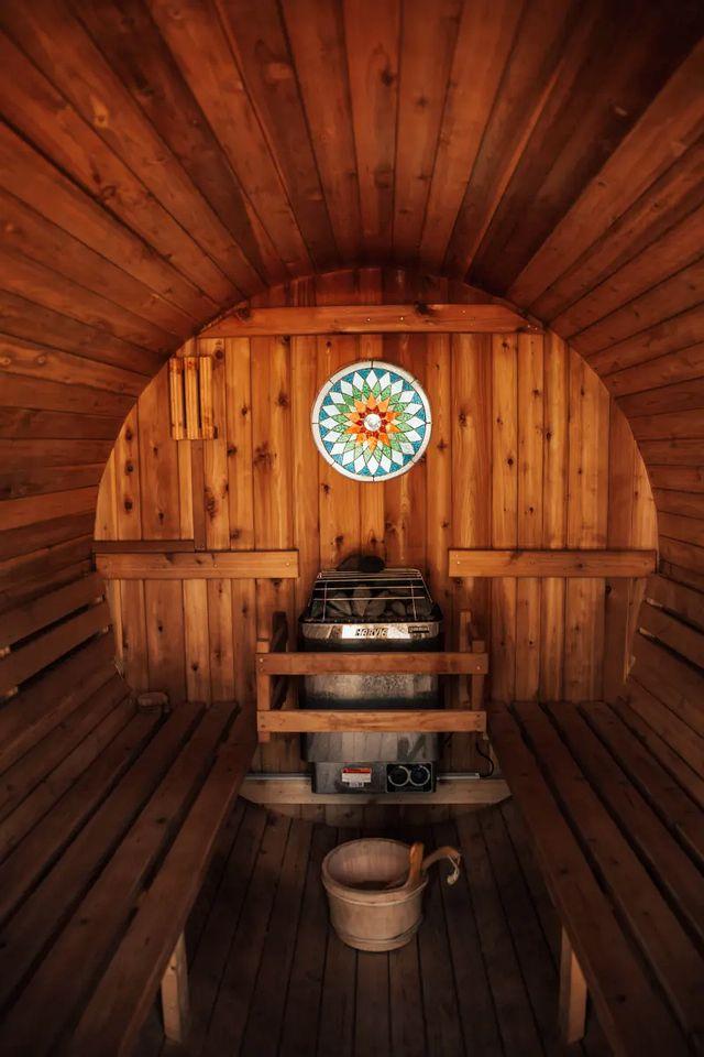 An outdoor sauna