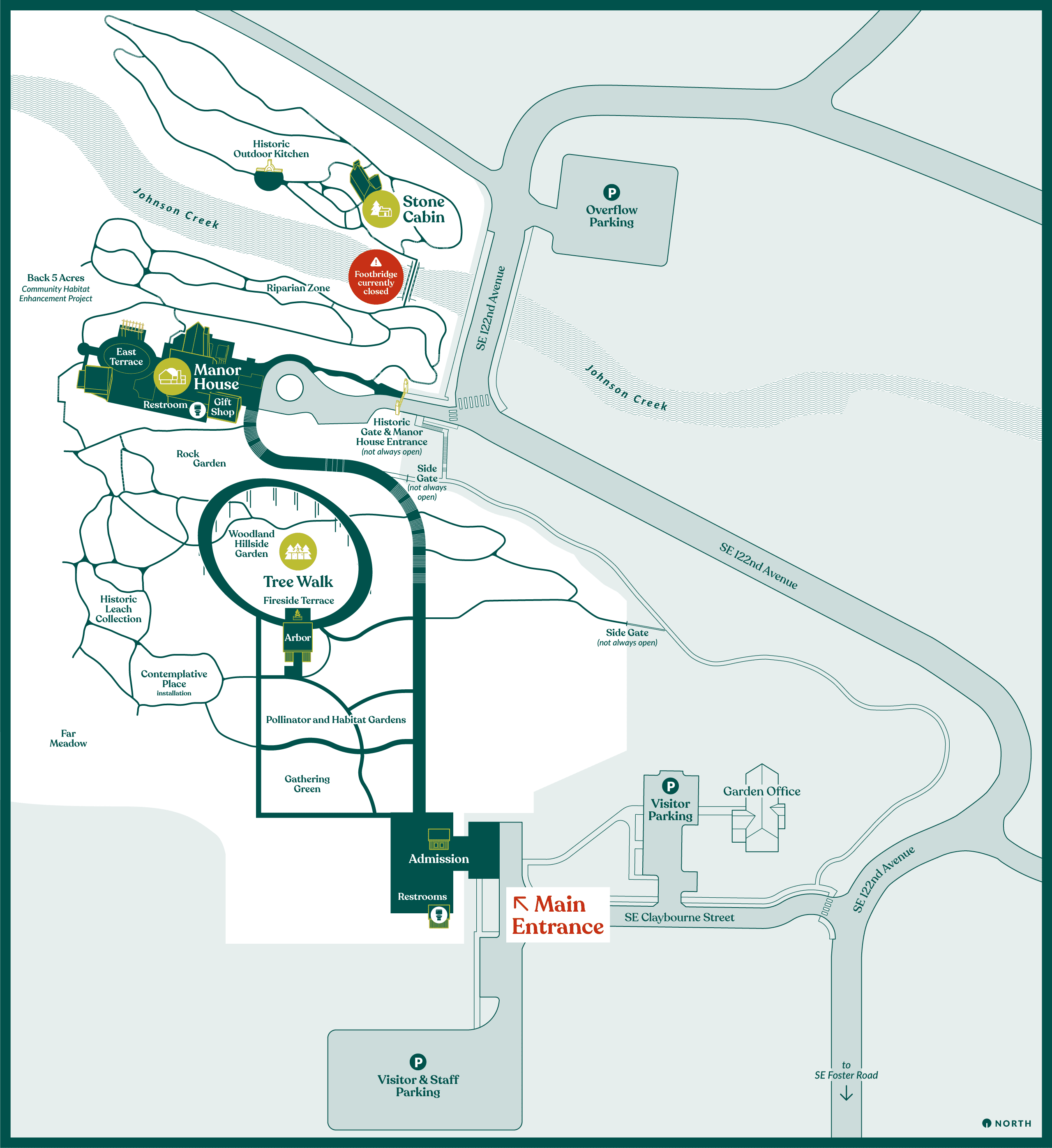 A map of the Leach Botanical Gardens and parking areas