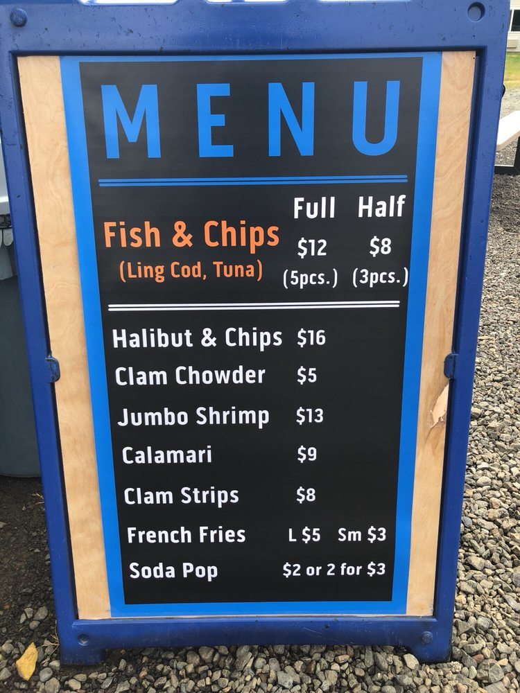 A menu for The Sea Baron Fish And Chips