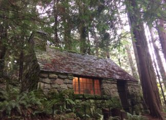 A stone cabin in the forest.