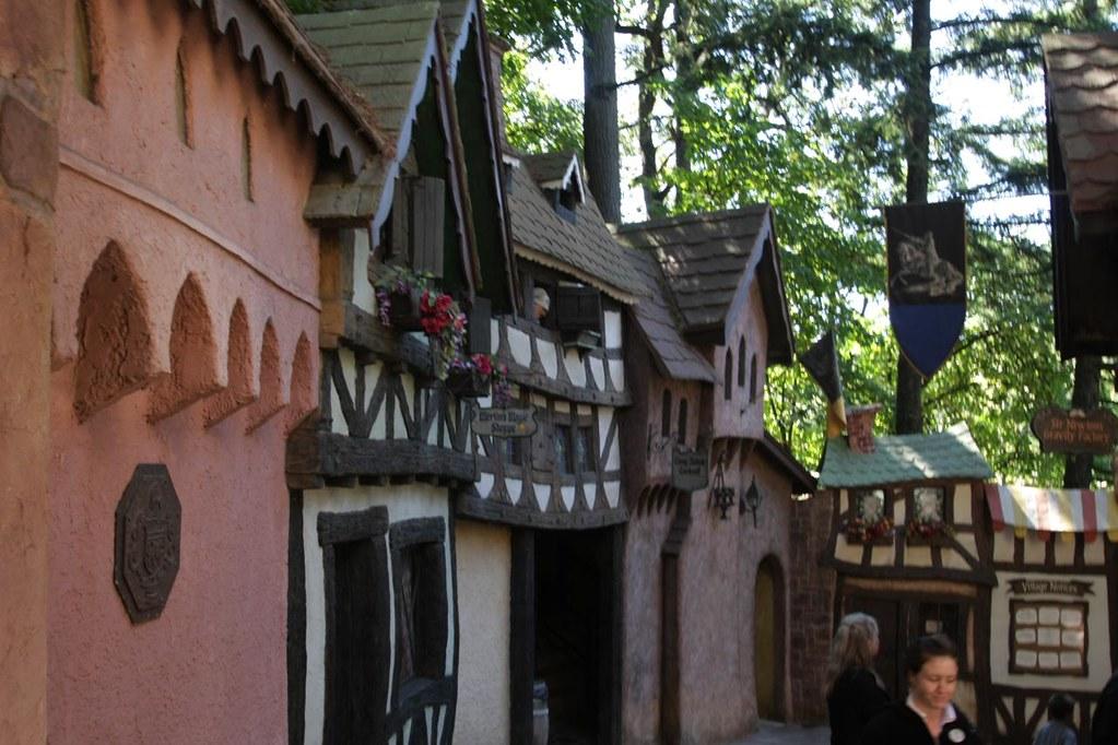 A mock English village.