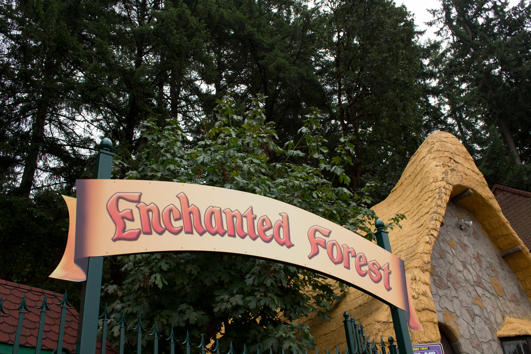 The Enchanted Forest park sign.
