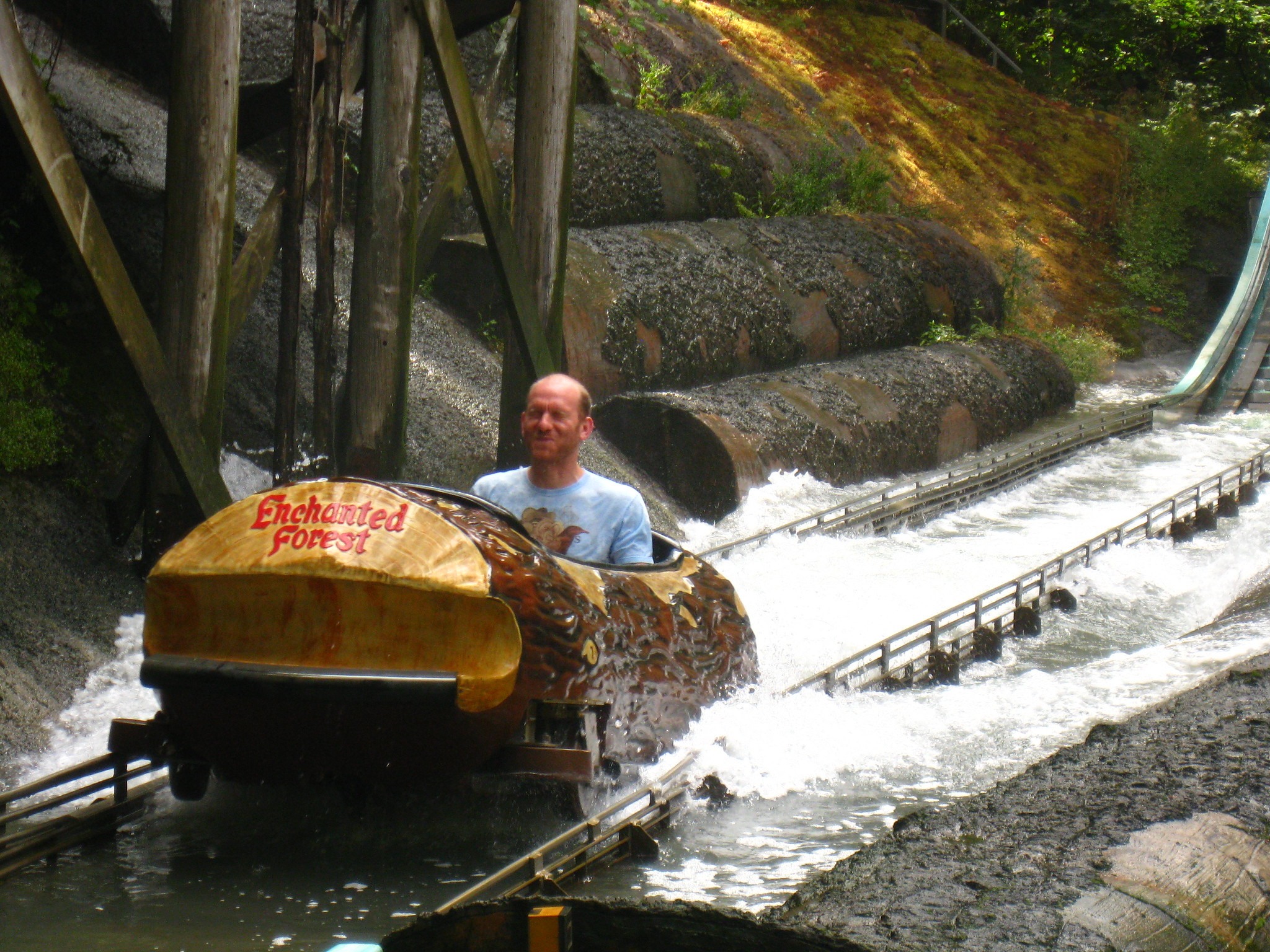 A person riding the log ride.