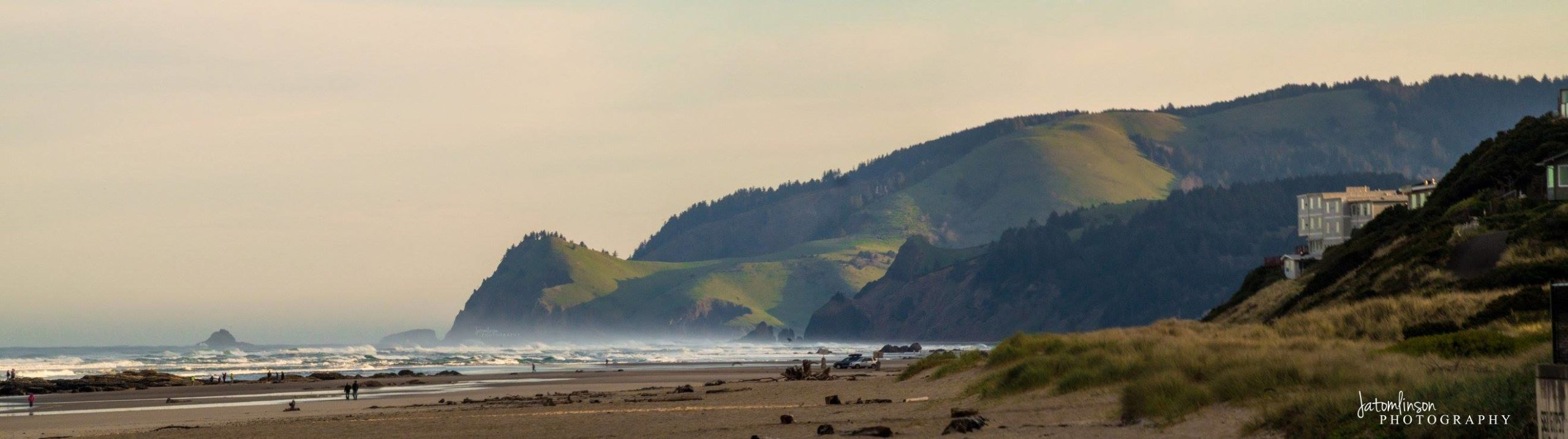 The beach and hills in Lincoln City Oregon.