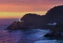 Heceta Head Lighthouse at sunset.
