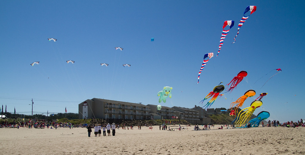 Huge kites flying on the beach in Lincoln City Oregon