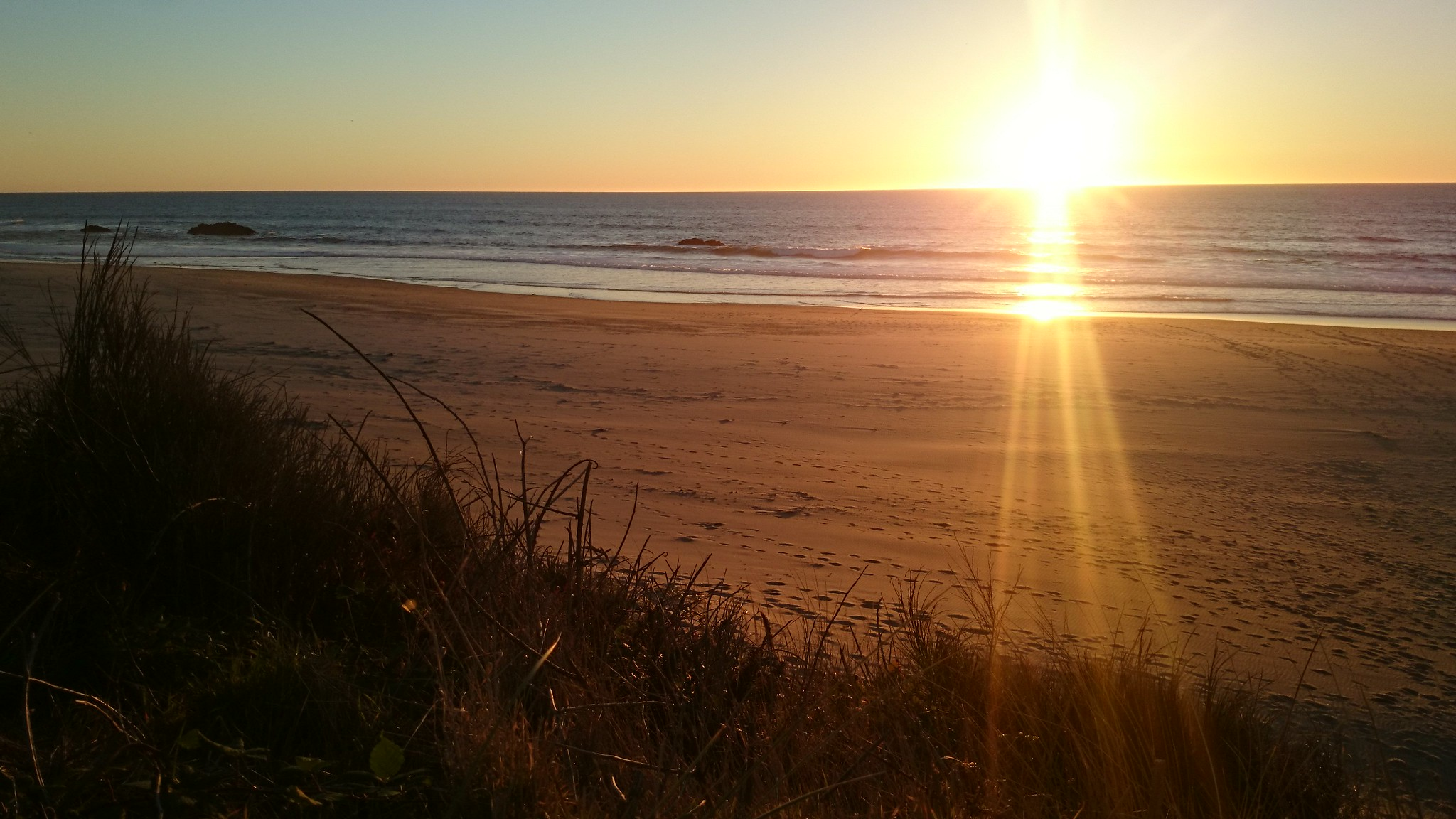 Sunset at the beach in Lincoln City Oregon.