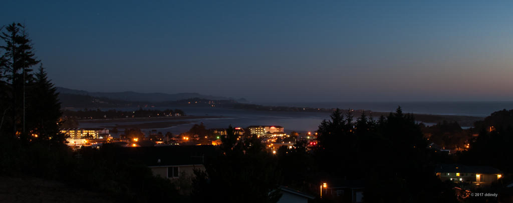 Siletz bay and the city after dark.