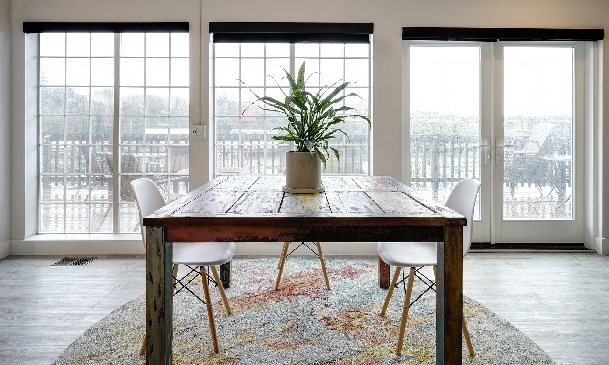 Gorgeous wood dining table at SCP Depoe Bay