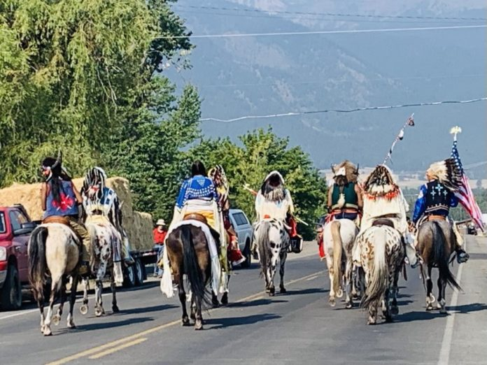 Nez Perce leaders ride to their newly reclaimed land in Oregon.