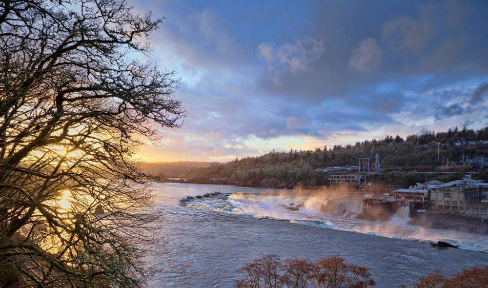 Willamette Falls Sunset Oregon City Oregon