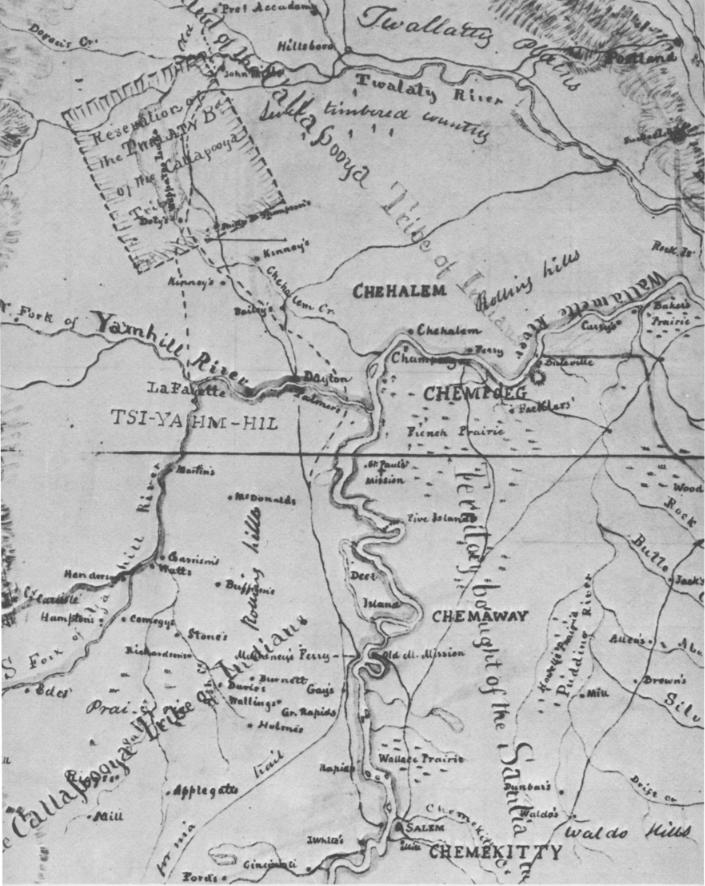 Gibbs Starling Map 1851 Oregon native americans