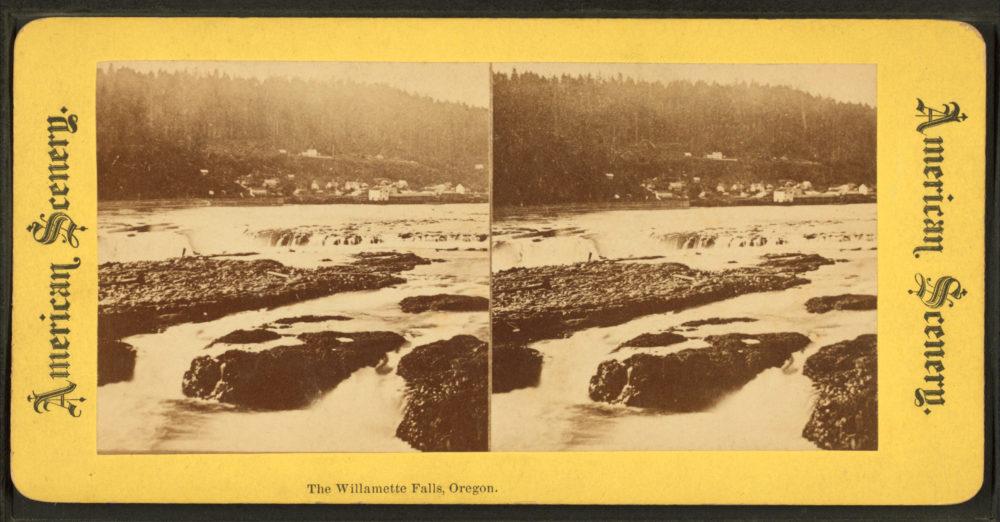 sepia stereoscopic image of willamette falls and Oregon city circa 1900