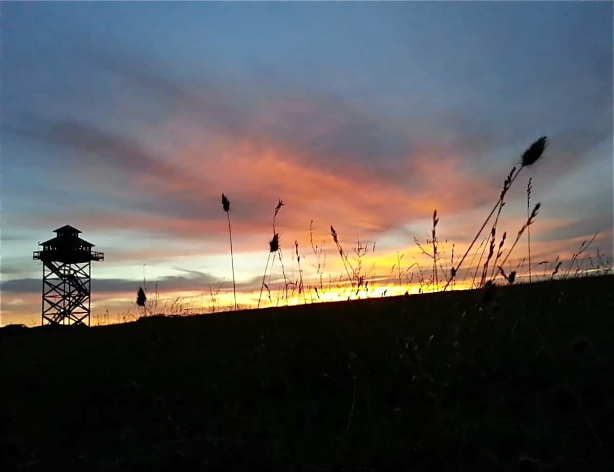 The lookout tower at sunset